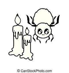 creepy spider animal with candles on white background