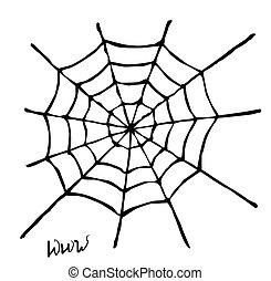 spider web - Creepy spider web over white background
