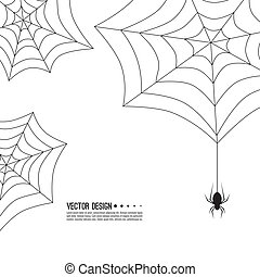 creepy spider web. - Vector illustration of creepy spider...