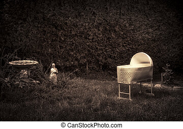 Creepy, Spooky Baby Crib - Bizarre, vintage looking photo of...