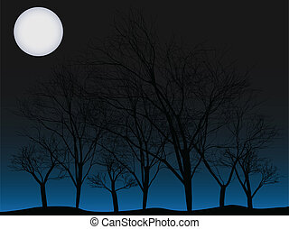 Creepy trees under full moon vector