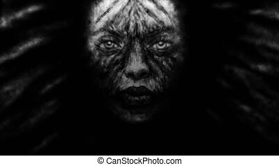 Creepy witch girl face with black developing hair. Animation...