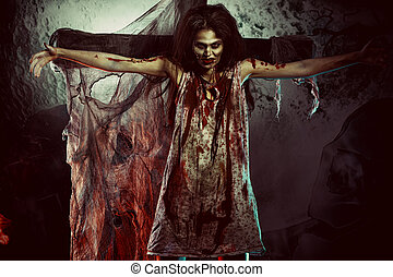 creepy woman - Bloodthirsty zombi standing at the night...