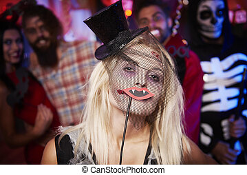 Creepy woman with a mask