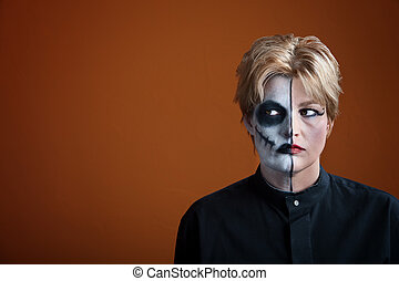 Creepy Woman - Woman wearing creepy makeup for Dia de los...