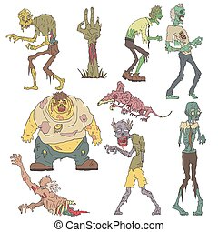 Creepy Zombies Outlined Drawings - Creepy Zombies Of Men And...