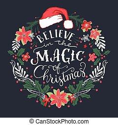 creer, guirnalda, magia, navidad