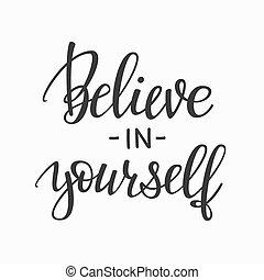 creer, tipografía, usted mismo