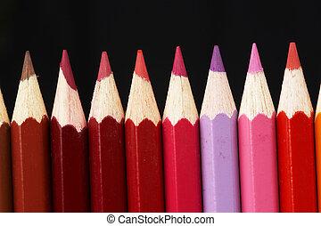 creions, colorido, fila