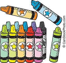 creions, coloridos, esboço