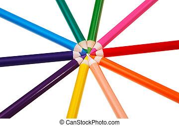 creions, coloridos, madeira, sobre, isolado, fundo, branca