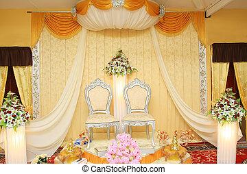 malay wedding stage - crem color malay wedding stage