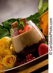 crema batida de chocolate, avellana