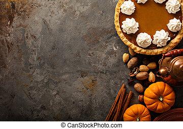 crema batida, pastel, calabaza