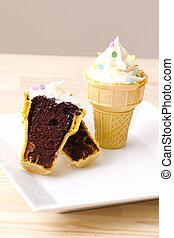 crema, cono, hielo, cupcake