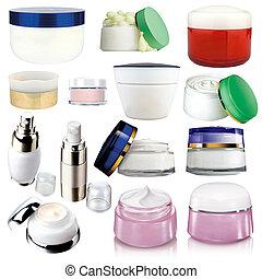 crema, cosméticos, paquetes