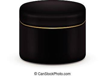 crema, cosmetico, color., vettore, nero, polvere, vuoto, contenitore, o, gel.