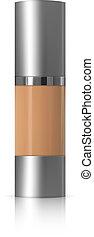 crema, dosificador, cosméticos, whey, realista, fundación, paquete, bb., tubo, 3d