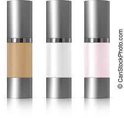 crema, dosificador, cosméticos, whey, realista, fundación, paquete, bb., tubo, conjunto, 3d