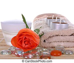 crema, e, rose, concetto, di, terme bellezza