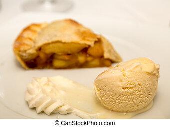 crema, fondo, mela, ghiaccio, torta