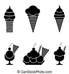 crema, ghiaccio, icone