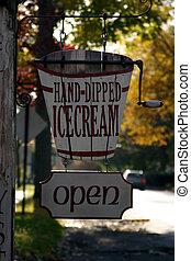 crema, hand-dipped, hielo, señal