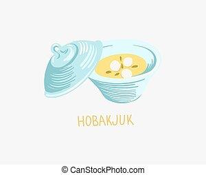 crema, illustrazione, zucca, coreano, cibo, hobakjuk, tradizionale, minestra, fagiolo, -