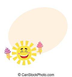 crema, sole, isolato, ghiaccio, cartone animato, vettore, illustrazione, presa a terra, sorridente, felice