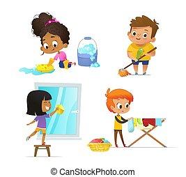 cremagliera., montessori, educativo, concetto, activities., illustration., pavimento, famiglia, essiccamento, -, collezione, cartone animato, attraente, vettore, finestra, appendere, routine, vestiti lavano, bambini, lavando