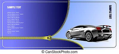cremallera, vector, abierto, ilustración, concept-car.