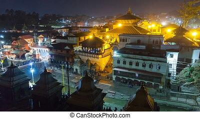 Cremation in Pashupatinath Kathmandu. The Hindu ritual of cremation in Pashupatinath Temple at night, Nepal