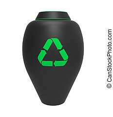 Cremation urn with recycling symbol, 3d render, isolated on ...