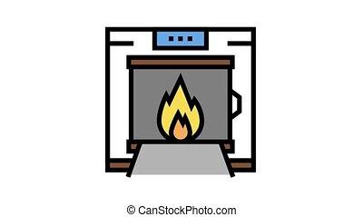 crematorium equipment animated color icon. crematorium equipment sign. isolated on white background