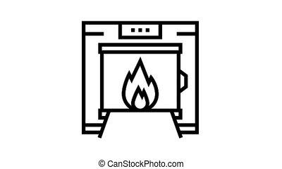 crematorium equipment animated black icon. crematorium equipment sign. isolated on white background