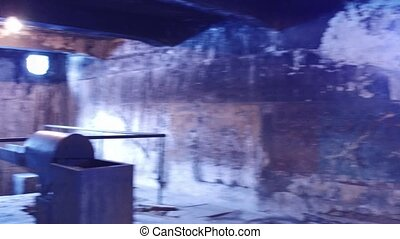 Crematorium ovens in a concentration camp. 4K pan shot