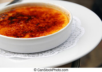 Creme brulee - A plate of delicious dessert creme brulee