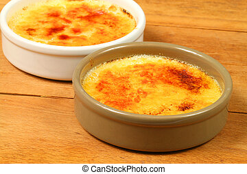 Creme brulee caramelized - Two cremes brulees with...