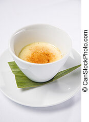 Creme Brulee served in white bowl