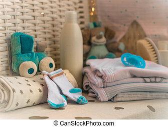 creme, coisas, meias, mamilo, bebê, grupo, fraldas, composição