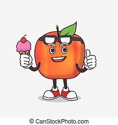 creme, comer, honeycrisp, personagem, gelo, mascote, maçã, caricatura