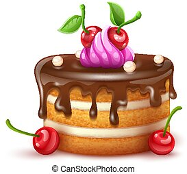 creme, compleanno, cioccolato, ciliegie, vector., torta