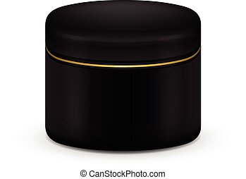 creme, cosmético, color., vetorial, pretas, pó, em branco, recipiente, ou, gel.