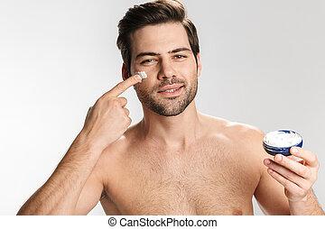 creme, facial, homem, foto, aplicando, agradado, metade-...
