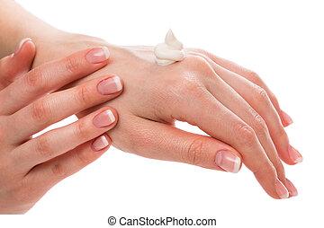 creme, moisturizer, mulher, aplicando, mãos