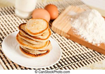 creme, panquecas, farinha, ovos, azedo, lar