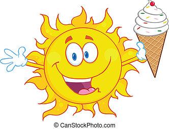 creme sol, segurando, gelo, feliz