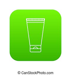 Creme tube icon green isolated on white background