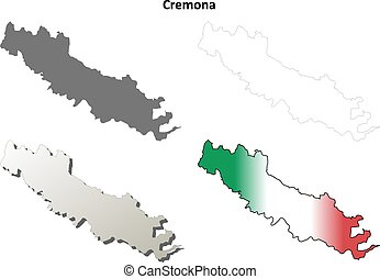 Cremona blank detailed outline map set - Cremona province...