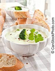 cremoso, brócolos, caseiro, sopa